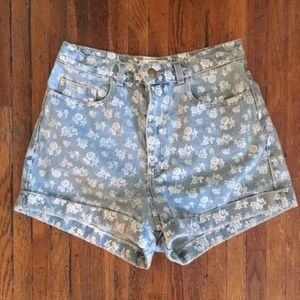 Floral Printed High Waisted Denim Shorts